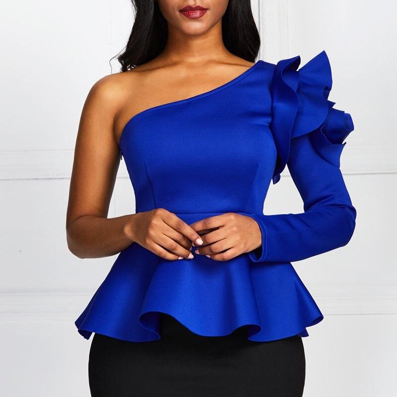 Blusa con cuello oblicuo azul para mujer, un hombro, camisa de manga larga con volantes, Sexy para oficina, para mujer, para fiesta, Tallas grandes 2XL