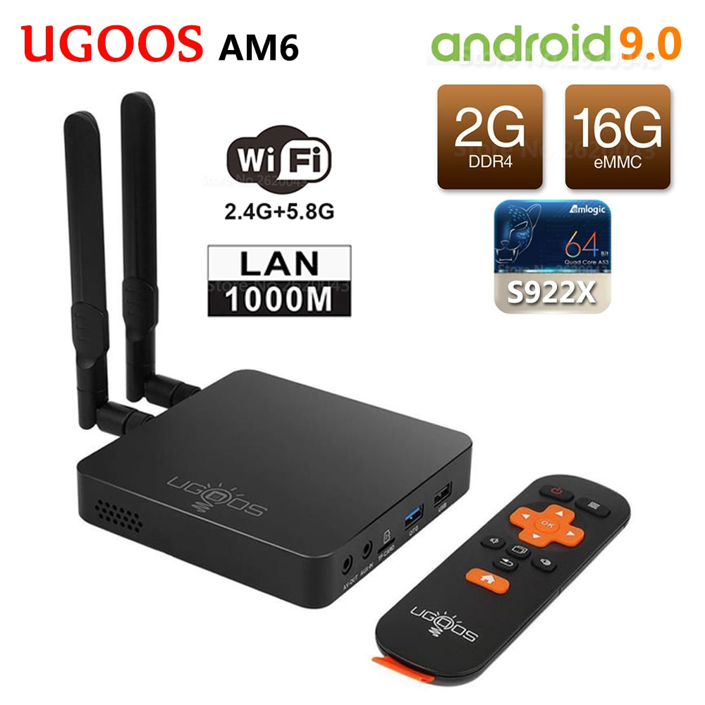 UGOOS AM6 Amlogic S922X Smart Android 9.0 TV Box DDR4 2 GB RAM 16 GB ROM 2,4G 5G WiFi 1000 M LAN Bluetooth 5,0 4 K HD Media Player