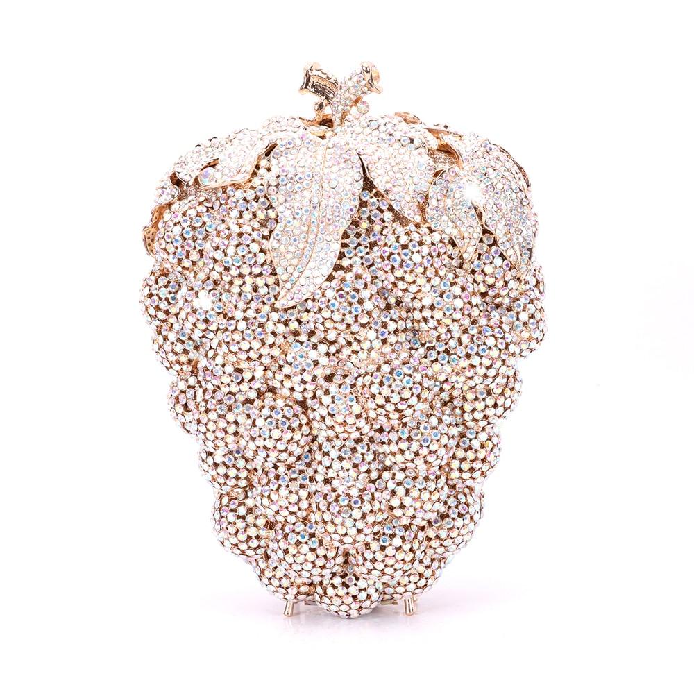 الايطالية تصميم حفلة الماس حقيبة يد فاخرة مأدبة حقيبة مستحضرات تجميل كريستال الزفاف مساء حقيبة يد