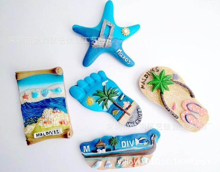 Resina geladeira ímã lembrança 3d maldivas bali havaí florida mar vista turismo adesivos magnéticos oceano estrela decoração da sua casa presente