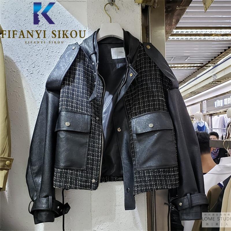 2020 الخريف المرأة سترة جلدية سوداء سستة قصيرة السائق معطف كبير جيب الموضة تقسم بولي Jackets جاكيتات فضفاضة قاذفة سترة الإناث