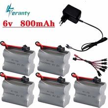 Batería de 6v 800mah y cargador USB de 6v para juguetes Rc coches tanques RC Robots RC barcos HT 2877 3831 AA NiCD 6v batería recargable