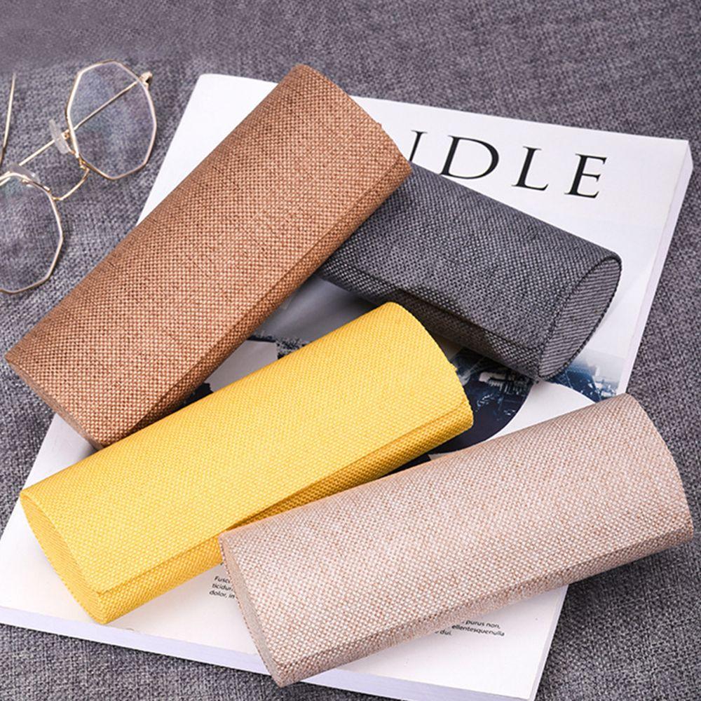 Estuche de lino para gafas Retro ovalado, estuche protector para gafas, estuche plegable para gafas, caja de almacenamiento para gafas hecha a mano