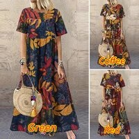 fashion summer maxi dress womens printed sundress casual short sleeve vestidos female high waist robe femme