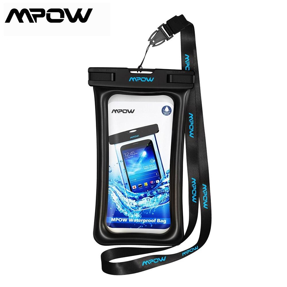 1 Uds. Bolsa impermeable flotante Mpow IPX8 Universal 6,5 bolsa subacuática para teléfono iPhone Samsung Huawei bolsa seca para teléfono móvil