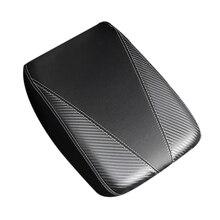 Car Carbon Fiber Leather Center Console Armrest Box Cover Trim for Jeep Wrangler 2018-2020
