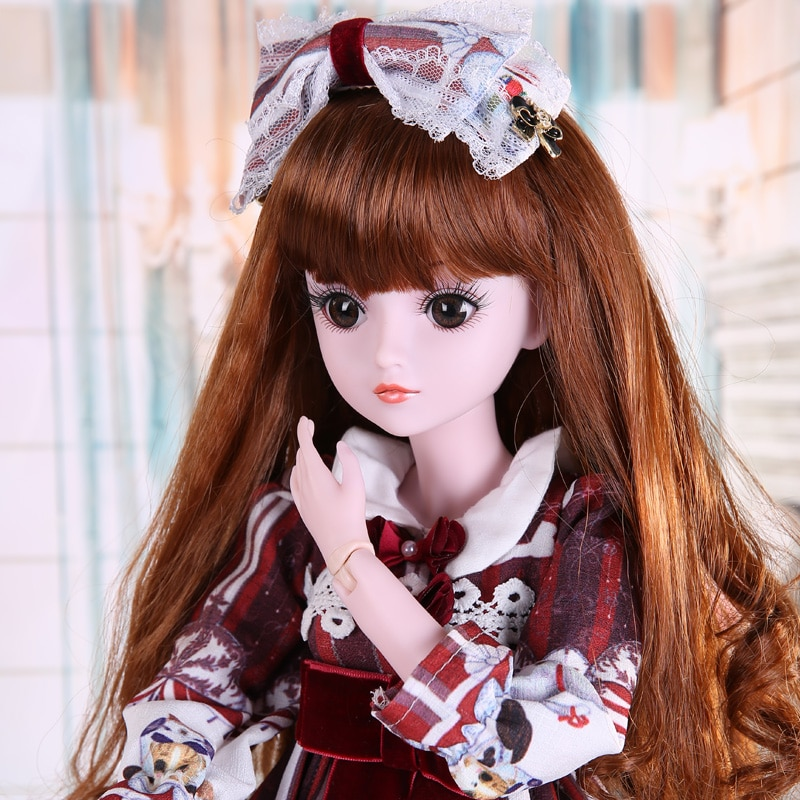 60CM muñecas de moda grande hecho a mano 1/3 BJD muñeca 19 bola articulada muñeca con trajes completos vestido peluca zapatos maquillaje niñas Juguetes