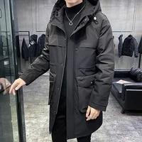 new down jacket men hooded long white coat men fashion youthful vitality white duck down mens winter jacket warm male coats
