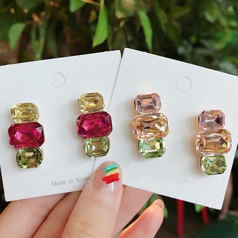 Mengjiqiao coreano nova chegada moda colorida praça de cristal luxo balançar brincos para feminino elegante festa jóias pendientes