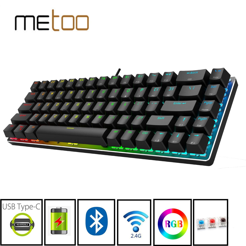 Gaming Mechanical Bluetooth Keyboard Wireless keyboard with Bluetooth/2.4Ghz/USB RGB Backlit Blue re