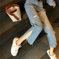 korean female y2k loose jeans pants harajuku casual streetwear 2021 women new blue jeans loose harem soild color long trousers