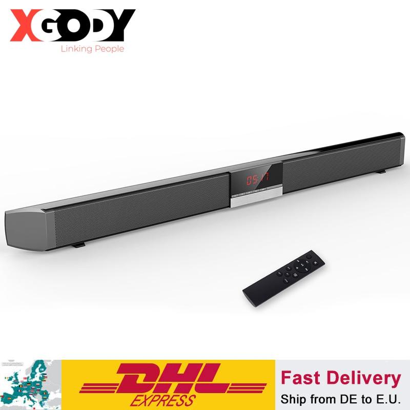 XGODY Soundbar TV Home Theater SR100 Bluetooth Speaker 2.0 Channel Wireless Audio For PC Support Remote Control 3.5mm AUX TF USB
