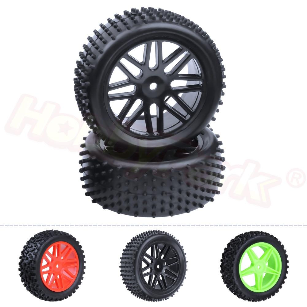 2x pneus traseiros de borracha & aro da roda encanta 12mm largura 42mm para rc 1/10 escala fora da estrada buggy nitro/energia elétrica caber hsp backwash