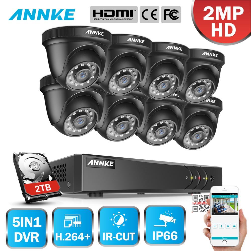 Annke 1080n cctv câmera dvr sistema 8 pçs à prova d2.água 2.0mp HD-TVI preto dome câmeras kit de vigilância vídeo em casa detecção movimento