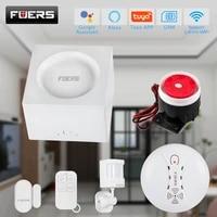 Systeme dalarme de securite domestique sans fil  wi-fi  GSM  Fuers G95  detection de mouvement  capteur de fumee  controle avec application Tuya