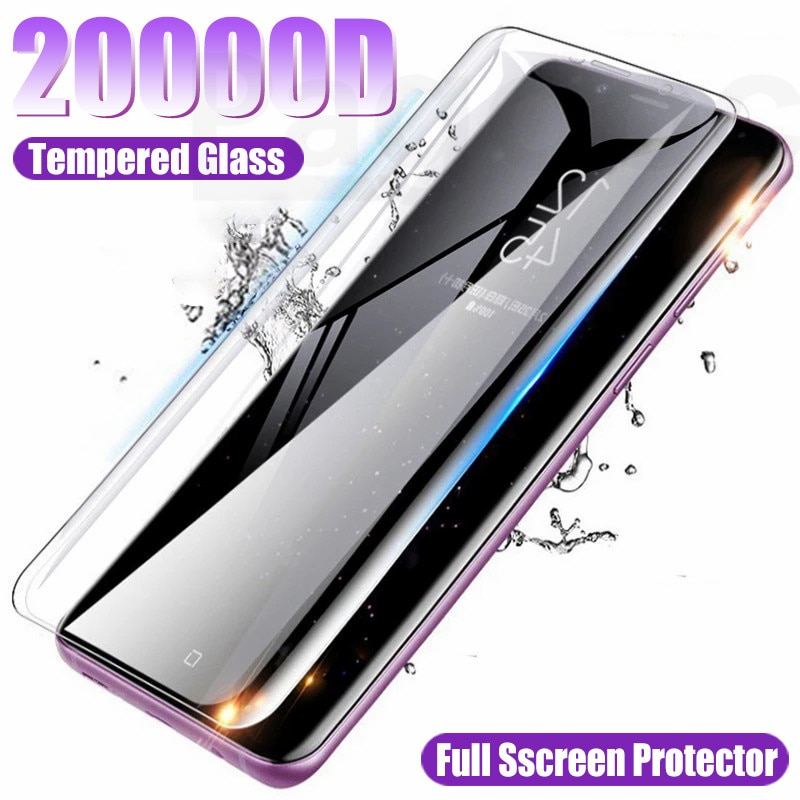 20000D Full Curved Screen Protective Glass For Samsung Galaxy Note 8 9 10 20 Ultra S10E S10 S8 S9 Pl