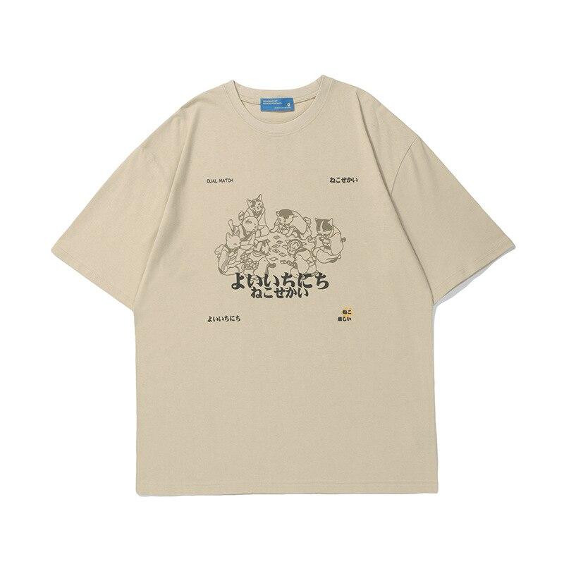Новая мужская футболка, забавная простая футболка с мультяшным принтом, футболка с короткими рукавами, Мужская свободная футболка в улично...