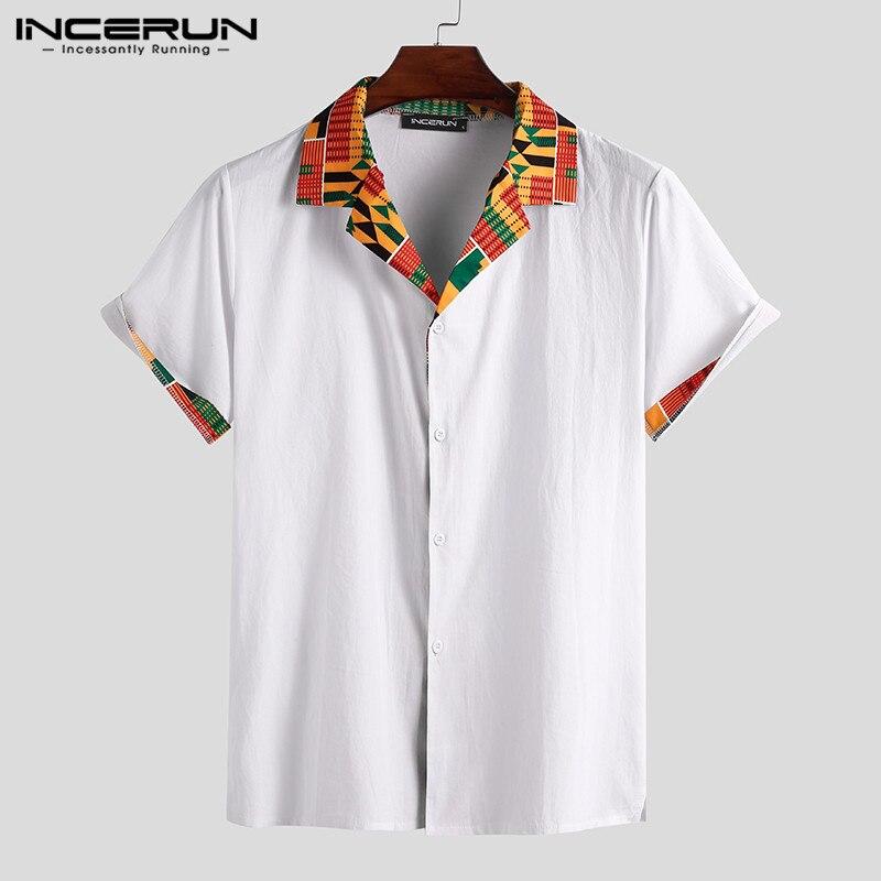 Estilo étnico camisa masculina de algodão lapela manga curta impressão retalhos streetwear casual tops verão 2020 dos homens africano camisas incerun