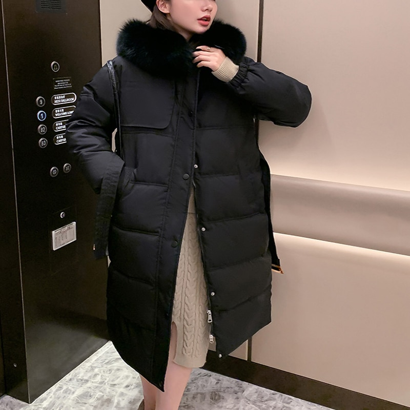 Fashion Zipper Hooded Female Long Outerwear Fashionable Loose Over The Knee Cotton Padded Jacket 2020 Winter Down Parkas Coat