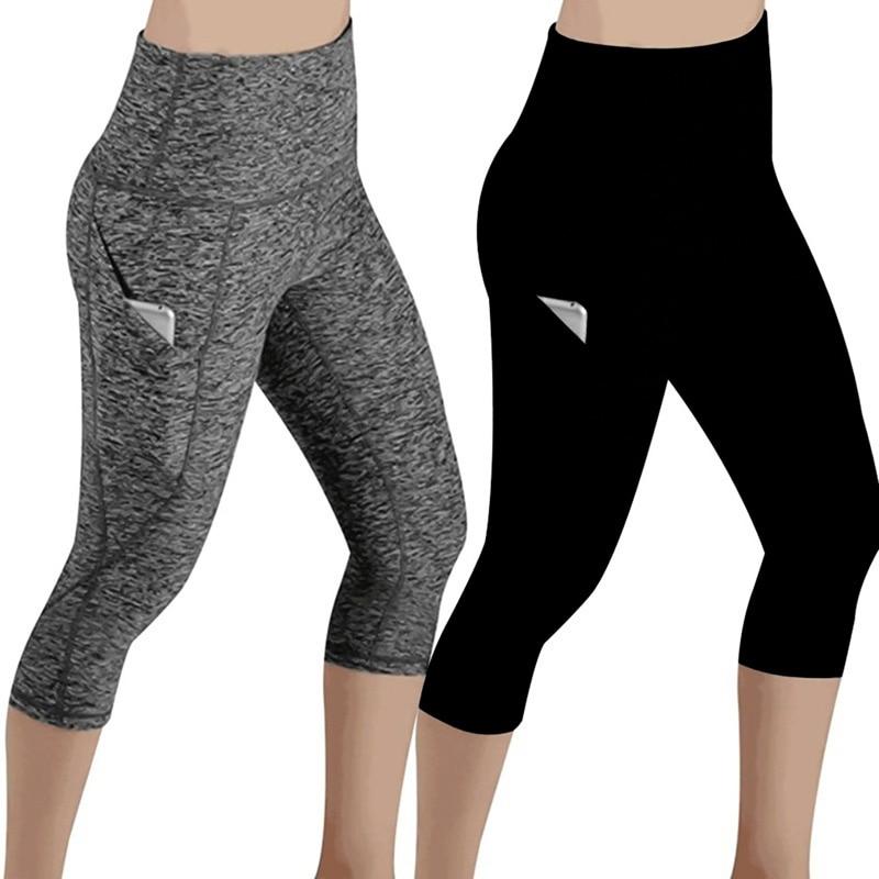 Slim Tight Sportswear Women Workout Out Pocket Leggings Fitness Sports Gym Running Yoga Athletic Pants Elasticized Waistband