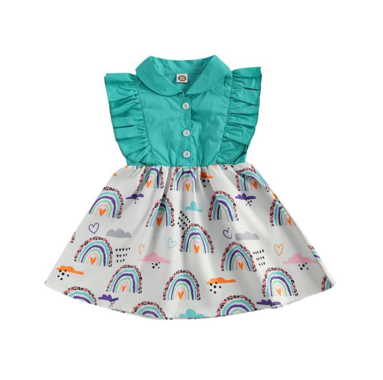 Toddler Baby Girls Princess Dress Doll Collar Ruffle Sleeveless Buttons Rainbow Printed Patchwork Sundress