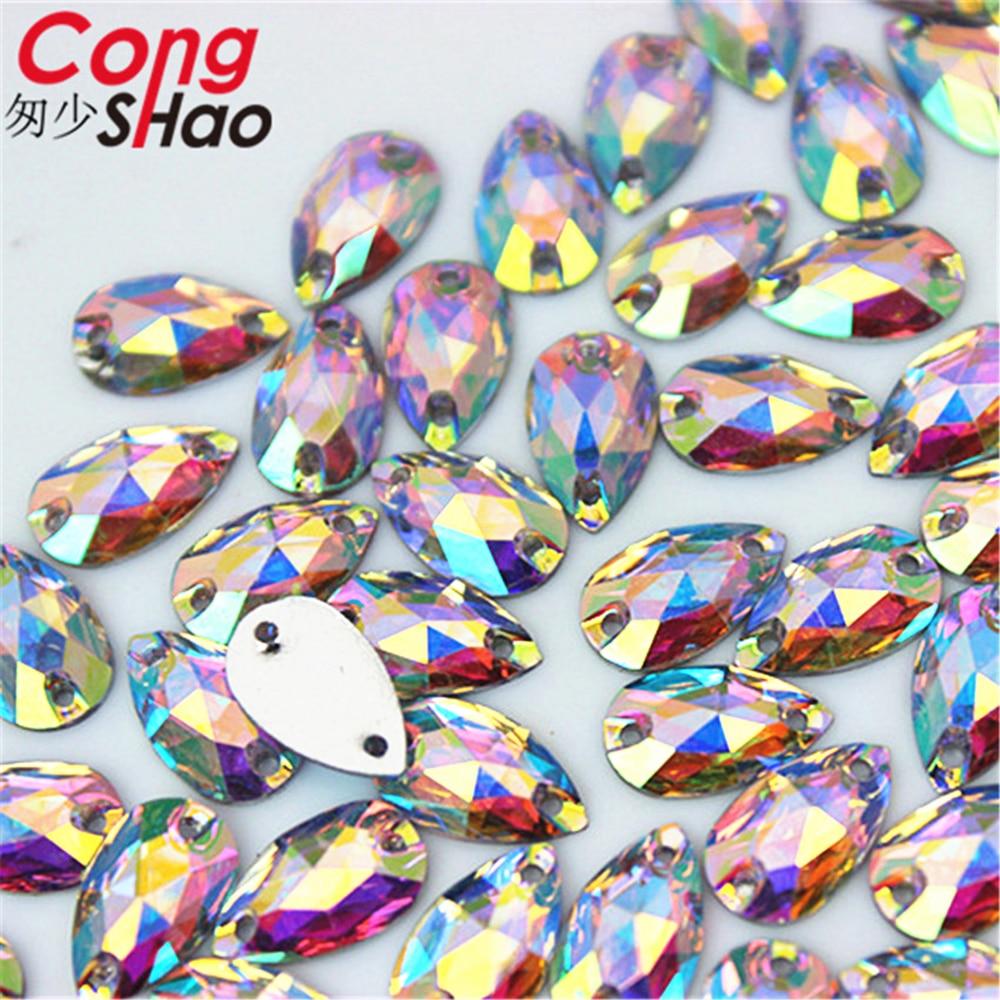 Cong Shao 50-200pcs 6*12/7*12mm Drop shape Crystals AB Rhinestone Flatback sewing 2 Hole Stones Resin For DIY Wedding Dress WC66