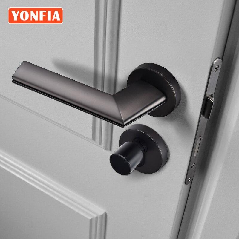YONFIA 8032 современный черный пушечный Металл интерьер дверная ручка замок шкафа охранных дверной замок ручка дизайн без ключа серый Цвет