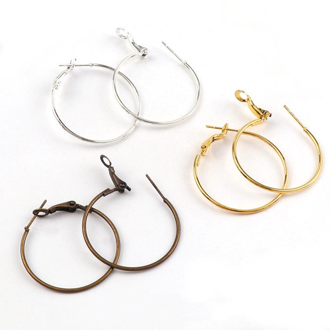 10pcs/lot 30mm DIY Earring Jewelry Making Findings Metal Circle Round Hoop Earring Fashion Bronze Gold Women Jewelry Accessories