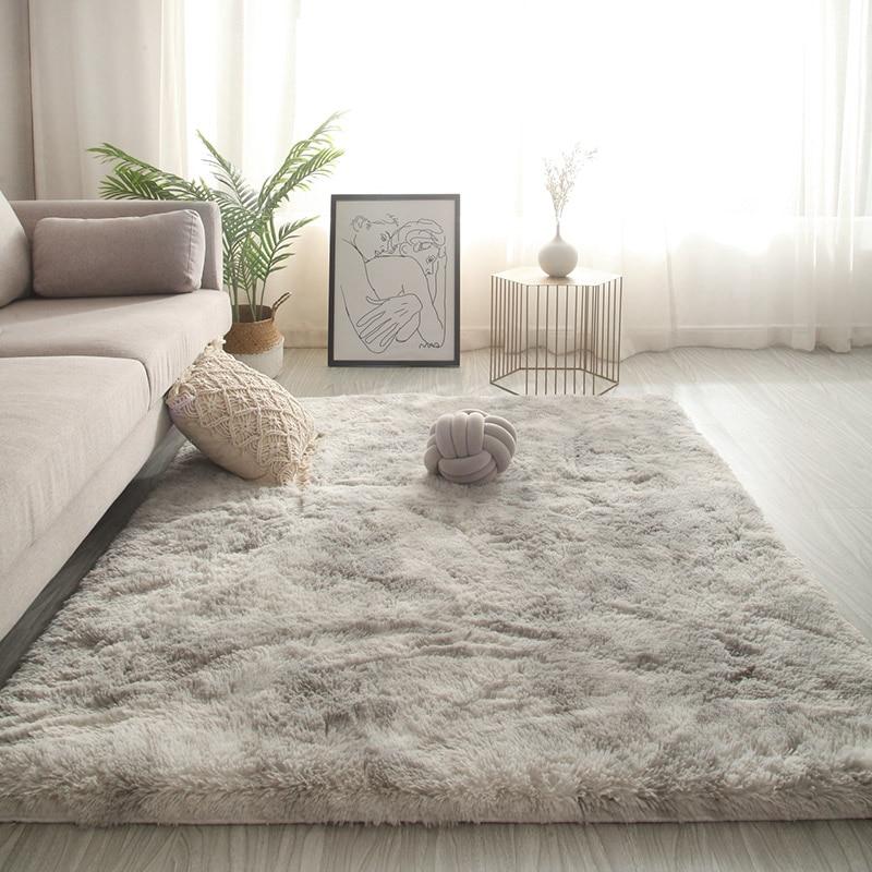 Long Hair Living Room Carpet Sofa Coffee Table Rug Bedroom Room Bay Window Bedside Carpet Luxury Furry Baby Nursery Decor Rug
