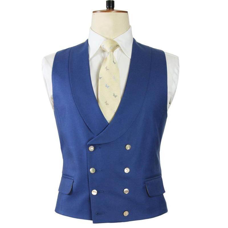 سترة مزدوجة الصدر للرجال لبدلة الزفاف مع شال التلبيب سليم صالح قطعة واحدة الأزرق الملكي مخصص Wasitcoat الذكور الموضة