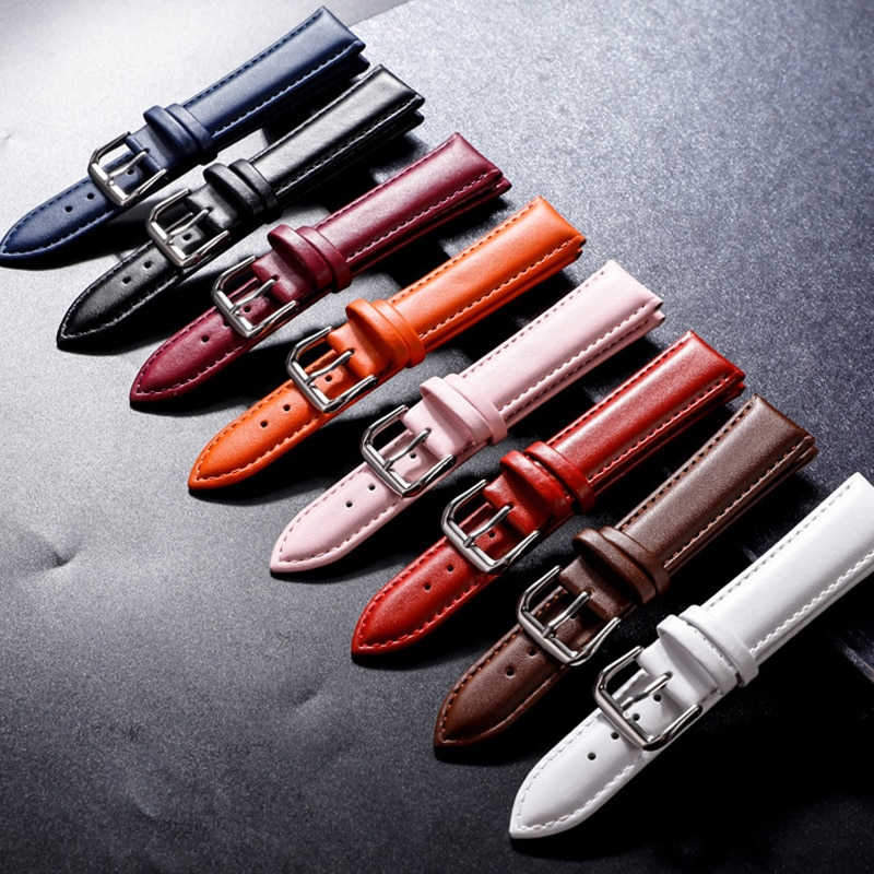 Watch Band Genuine Leather Straps 12-22mm With Silver Color Stainless Steel Buckle High Quality Watchbands Accessories