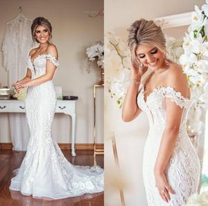 Elegant Mermaid Wedding Dresses Sweep Train Off The Shoulder Lace Beach Wedding Dress Appliques Custom Made Bridal Robes De