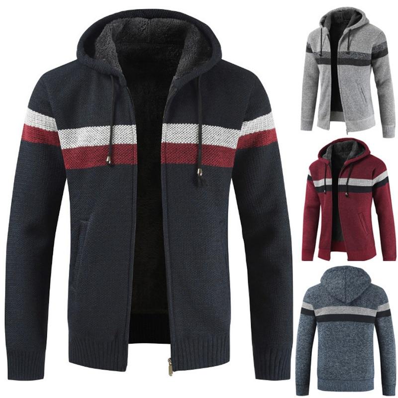 Sweater Coat Men 2019 Winter Thick Warm Hooded Cardigan Jumpers Men Striped Cashmere Wool Liner Zipper Fleece Coats Men