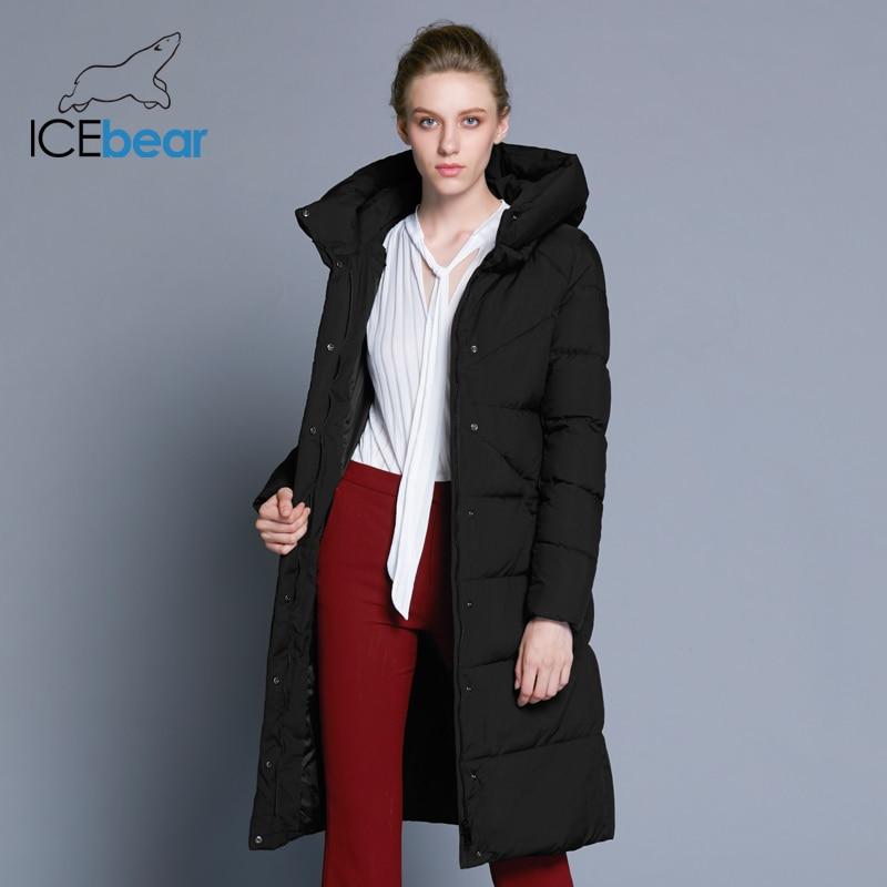 ICEbear 2019 Новинка высококачественная женская зимняя теплая куртка простой манжет дизайна ветрозащитная куртка модная фирменная женская куртка длины GWD18150