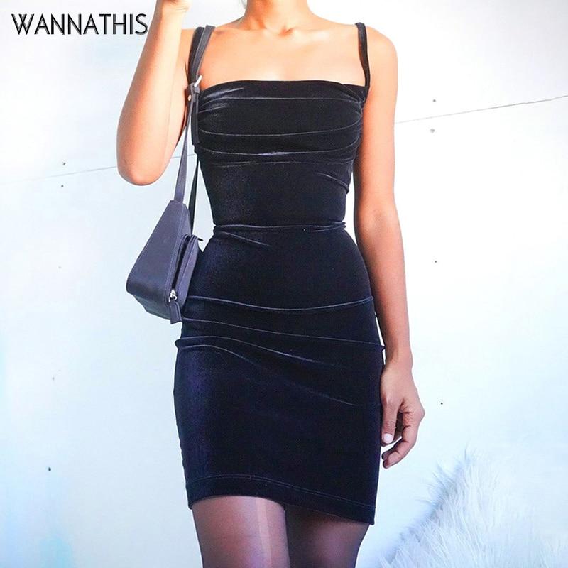 WannaThis Black Velvet Spaghetti Strap Dress Front Ruched Mini Skinny Sleeveless Off Shoulder Women Fashion Elegant  Party Dress