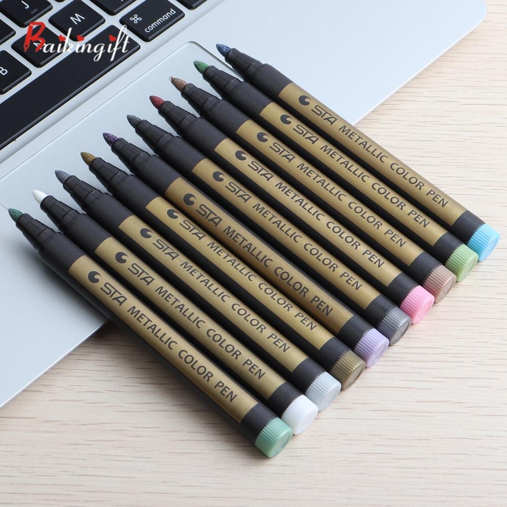 1pcs Metallic Marcadores de Tinta Permanente Marcador Arte Do Cartão do Presente de Aniversário para crianças Fontes Da Pintura Da Arte caneta Criativa Da Escola