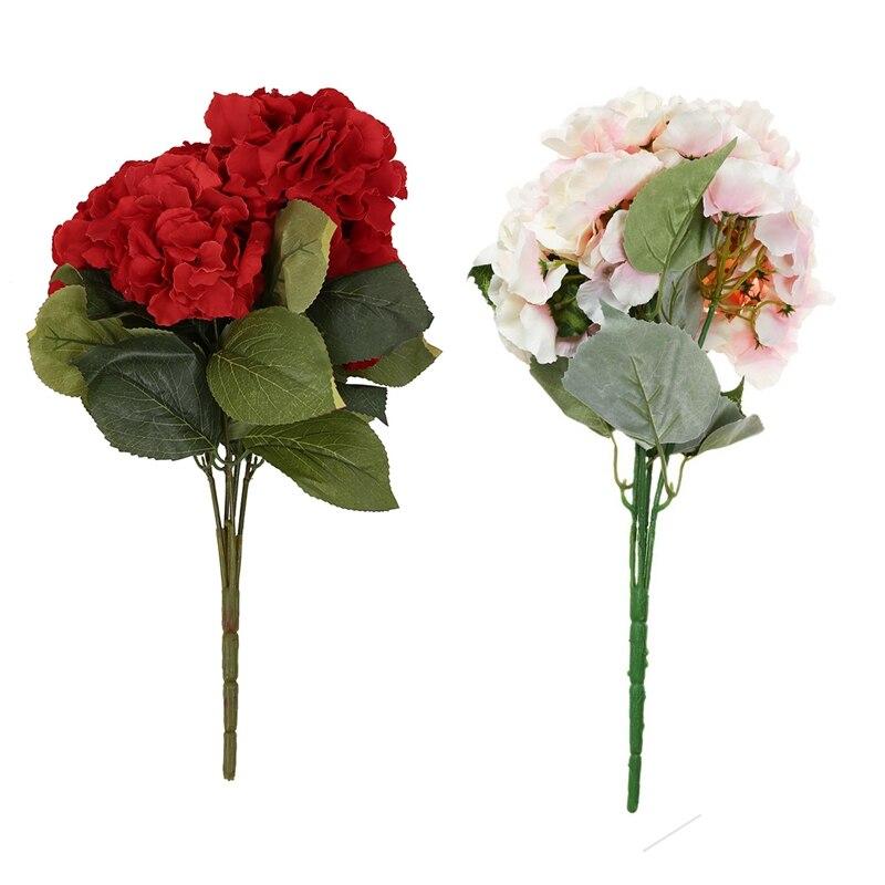 2x yapay ortanca çiçek 5 büyük kafaları buket (çap 7 inç her kafa) pembe & kırmızı