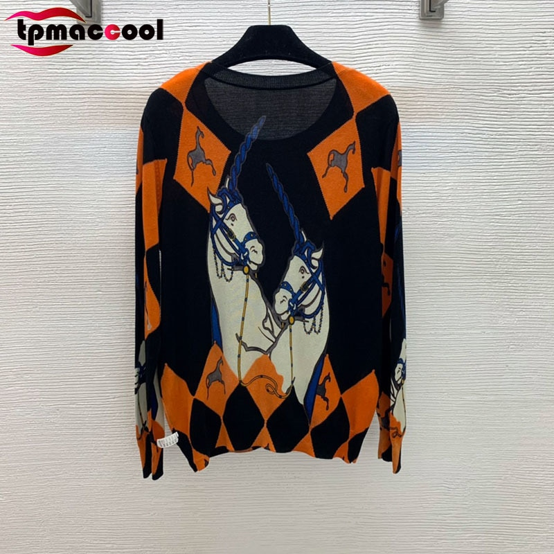 Designer High end Women Classic PRINT babyskin soft wool Fabric O Neck Pullover Knitted luxury sweater pullovers jumpers S-XXL enlarge