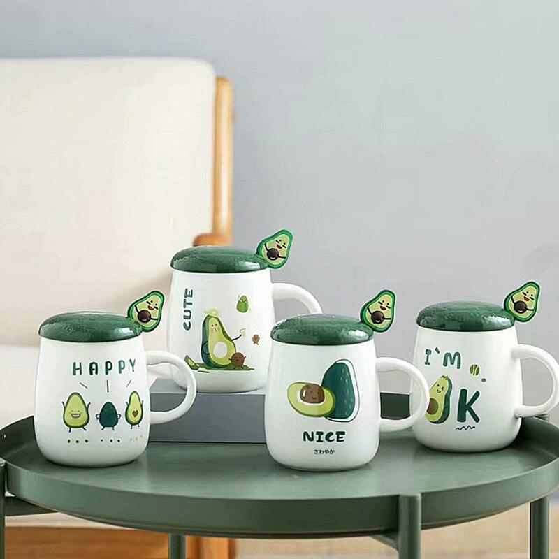 Linda taza de café de cerámica de 420ml con aguacate, taza de té de agua con empuñadura, vajilla para el hogar de estilo coreano japonés