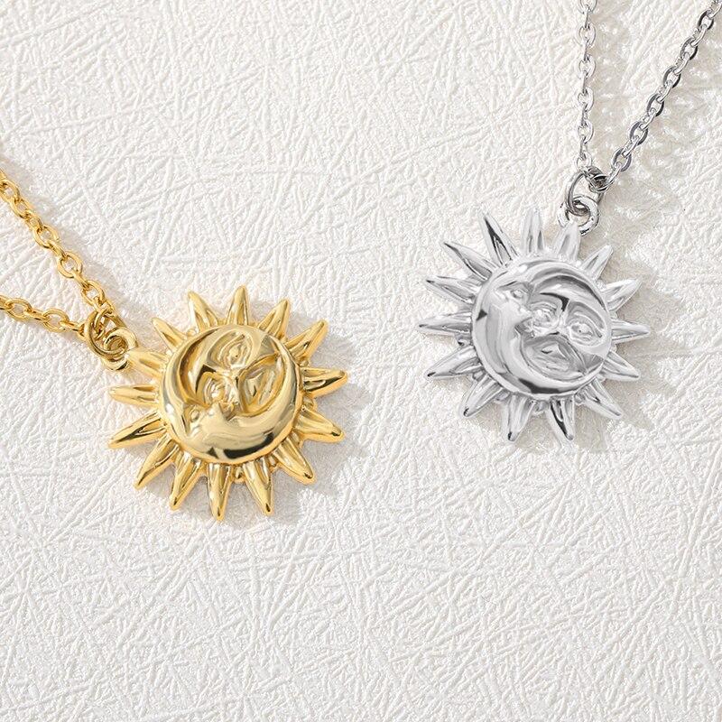 De acero inoxidable sol y luna Collar para las mujeres collar de cadena de oro de moda colgante Collier Femme 2019 regalo de la joyería de Boho