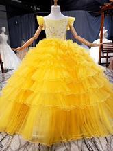 2020 luxe diamants filles adolescent Pageant robes jaune jupe à volants robe de bal fête danniversaire fille robe de soirée