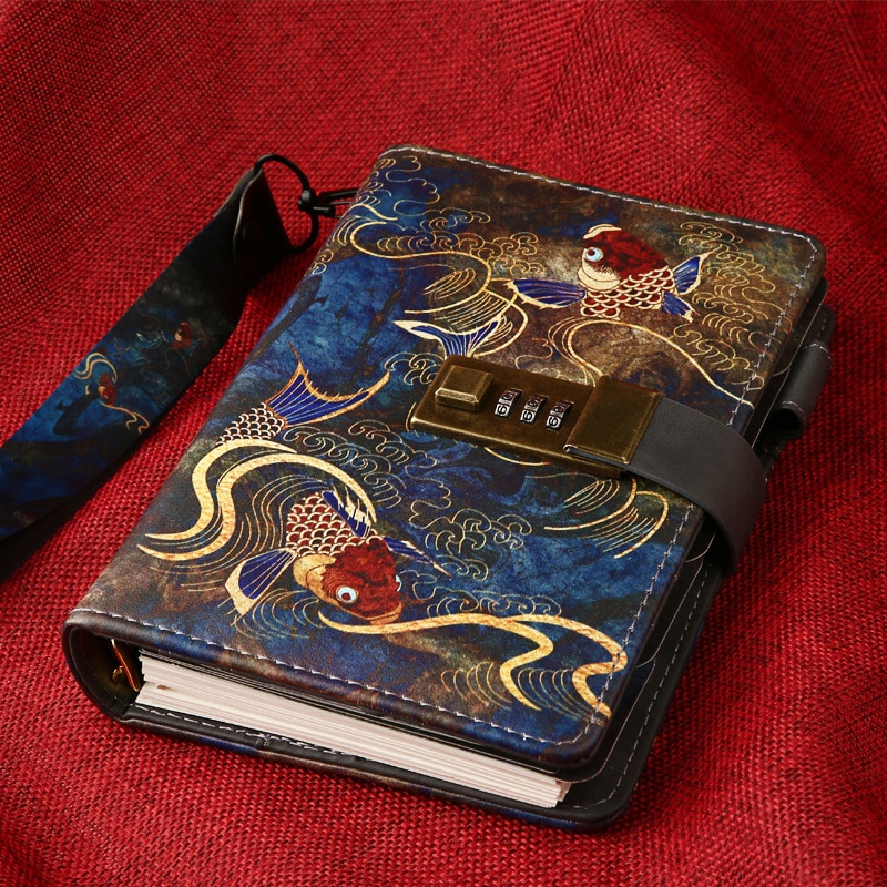 A6 Binder Notebook with Lock Vintage Journal Cute Retro Notepad Spiral Diary Planner Organizer Wonderful Handbook Ring Note Book