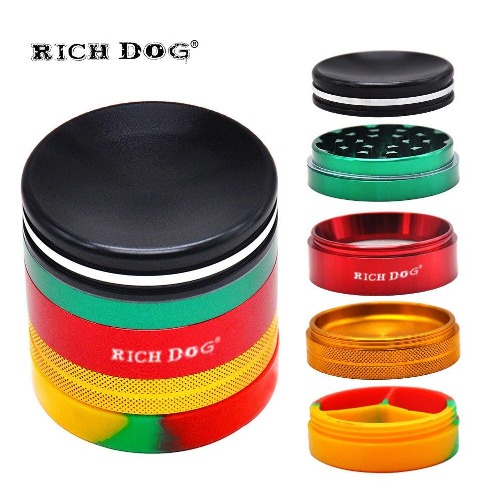 HORNET Rasta Color aluminio tabaco molinillo Almacenamiento de silicona Stash Jars 63MM 5 piezas Metal Smoking trituradora de hierbas