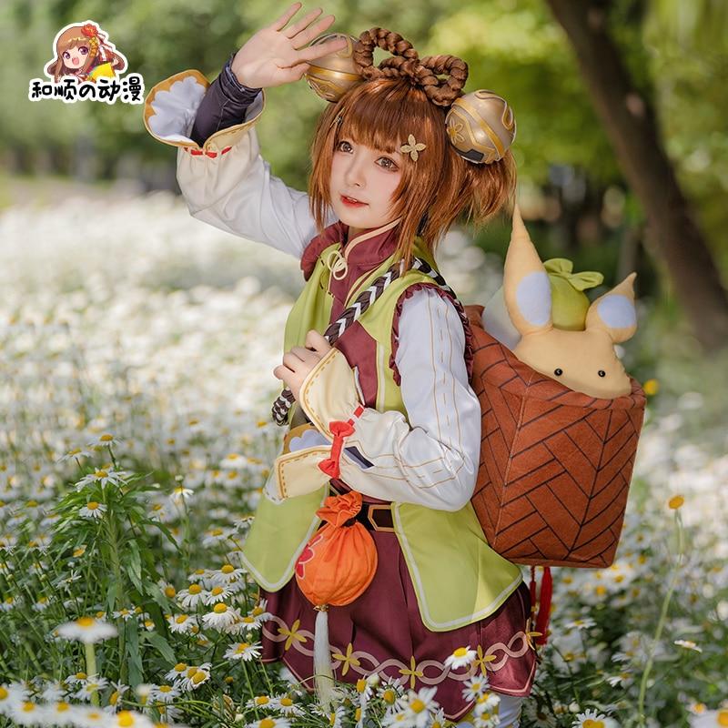 Игра Genshin воздействия; YaoYao»; Карнавальный костюм в стиле Лолиты Яо Аниме парик для Хэллоуина Детский костюм для хеллоуина для детей