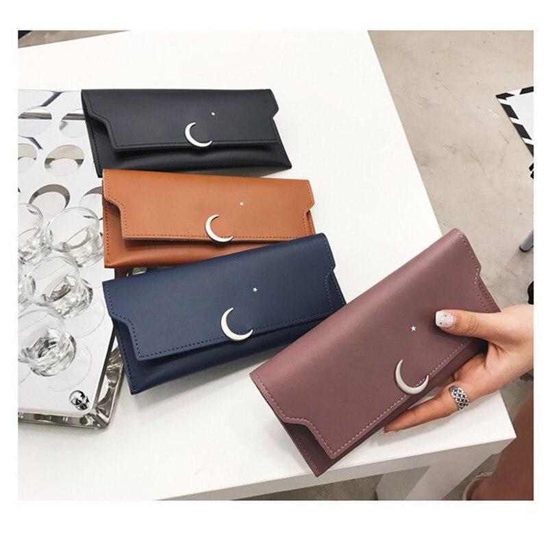 2020 moda señoras larga estrella Luna cartera monedero Casual PU decorativo bolso de embrague monedero Delgado tarjeta llave dinero moneda bolso