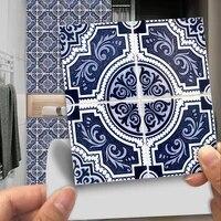 10 pieces ensemble bleu fonce et blanc Mandala ceramique carreaux autocollant Mural Tables de cuisine Art Mural decor a la maison Peel   Stick PVC stickers muraux