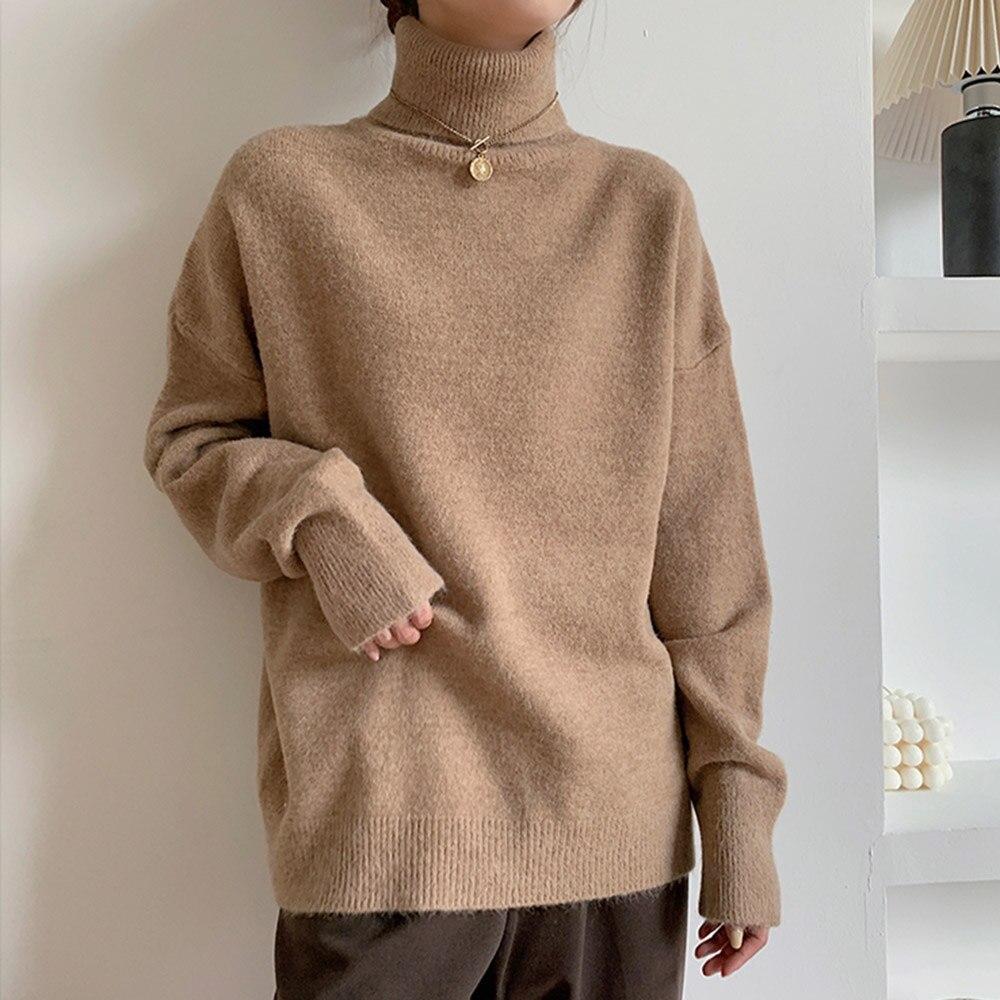 Осенние женские топы, новинка, корейская мода, свободная водолазка, теплый вязаный свитер, женские повседневные универсальные тонкие пулов...
