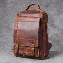 """YUPINXUAN livraison directe sacs à dos en cuir de vache Vintage 14 """"ordinateur portable Daypakcs sacs à dos en cuir de cheval fou"""