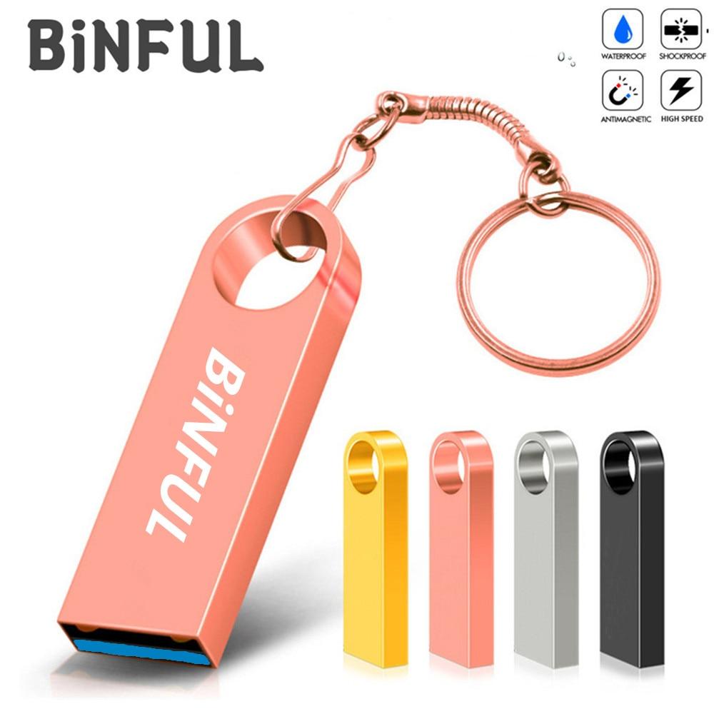 BiNFUL 32 ГБ флэш-накопитель металлический USB флеш-накопитель 4 ГБ 8 ГБ оперативной памяти, 16 Гб встроенной памяти, 64 ГБ usb флэш-накопитель 128 ГБ 256 Г...