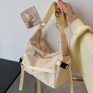 Nylon Large Capacity Design Big Crossbody Bags for Women 2021 Summer Trend Luxury Fashion Travel Shoulder Handbags Purple